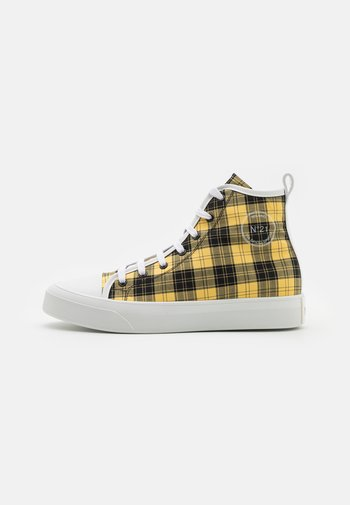 High-top trainers - black/yellow