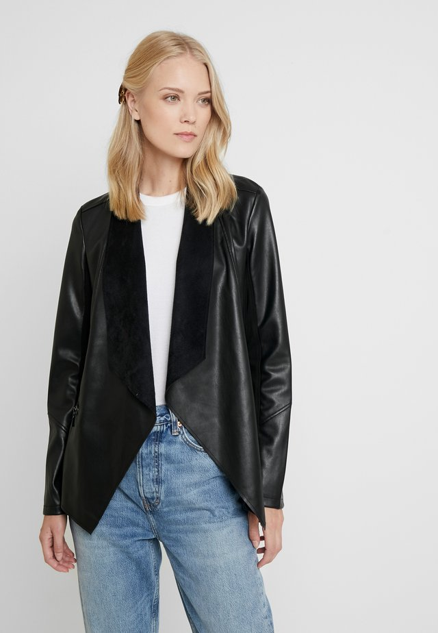 WATERFALL - Faux leather jacket - black