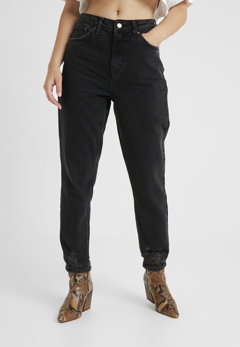 Topshop Petite - MOM - Relaxed fit jeans - black denim