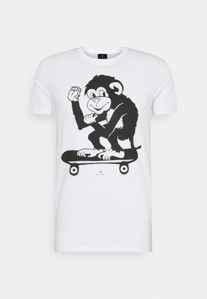 MENS SLIM FIT SKATE MONKEY - Print T-shirt - white