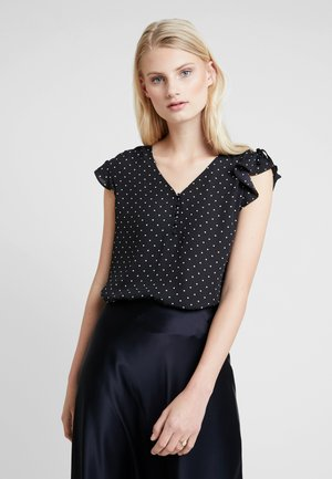 RUCHED SHOULDER FLUTTER - Bluzka - black