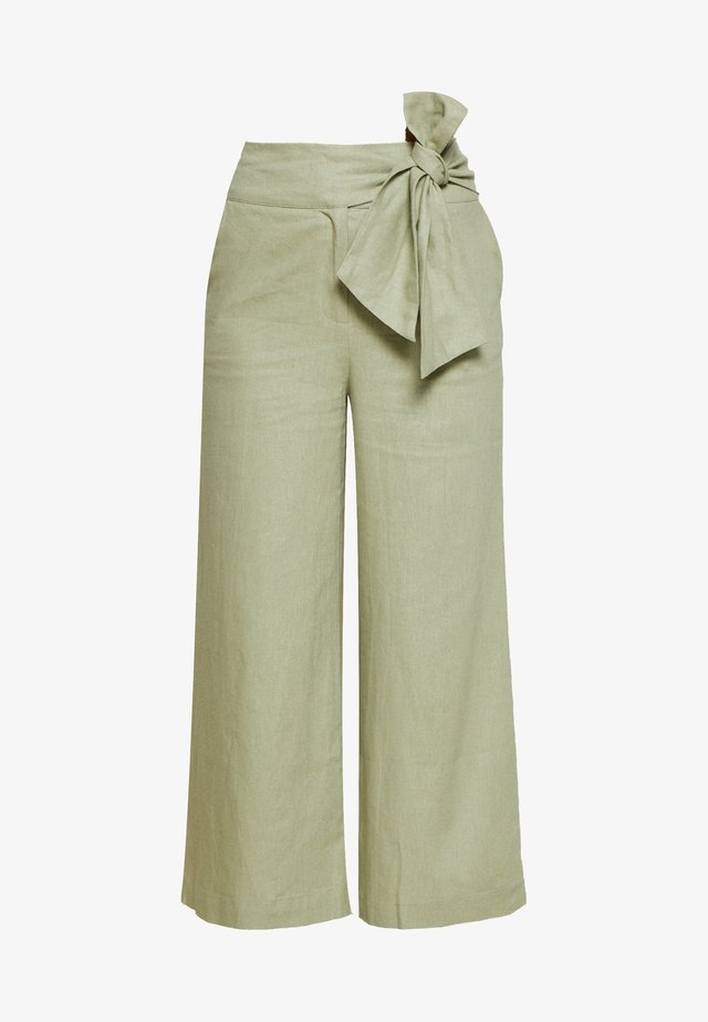 TIE WAIST WIDE LEG TROUSER - Kangashousut - light green