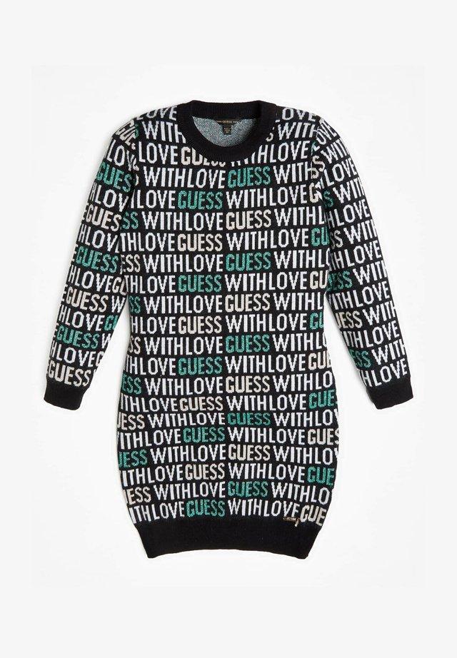 JACQUARD ALLOVER-LOGO - Gebreide jurk - mehrfarbig schwarz