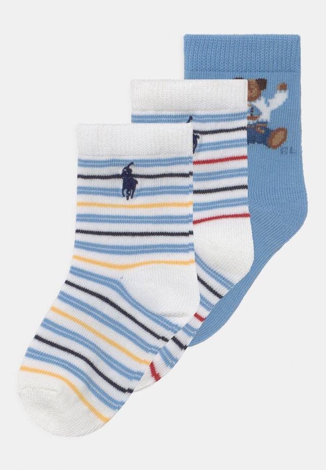 BEAR 3 PACK - Strumpor - blue/white