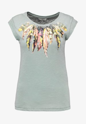 ONLBONE FEEL FEATHERS BOX - Print T-shirt - chinois green