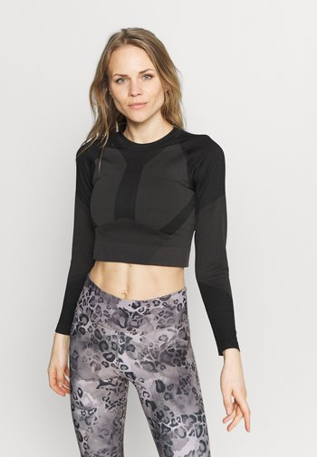 THE MOTION CROP - Long sleeved top - black