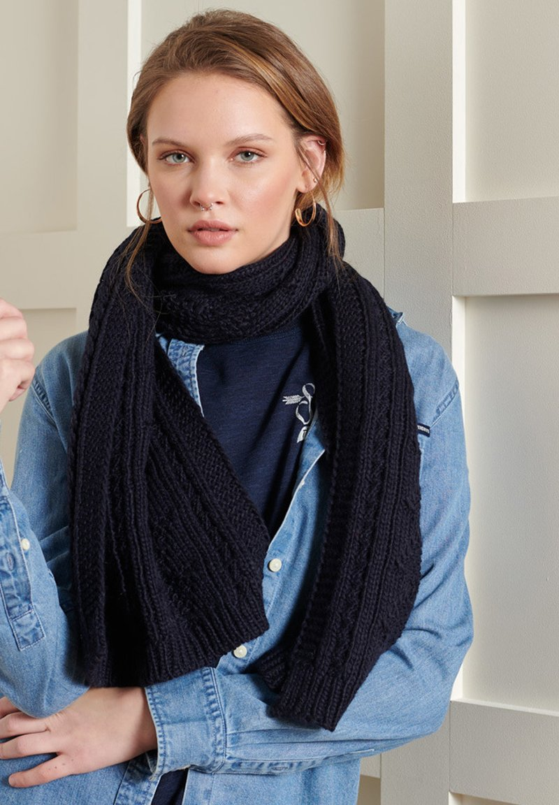Superdry - LANNAH CABLE  - Scarf - carbon navy