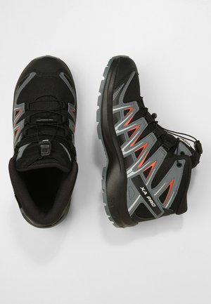 XA PRO 3D MID J - Hiking shoes - black/stormy weather/cherry tomato