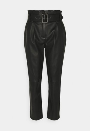 LUXURY PAPERBAG PANTS - Pantaloni di pelle - black