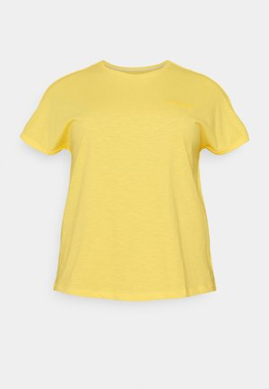 CHEST EMBROIDERY - Print T-shirt - mellow yellow