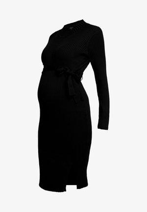 TIE WAIST DRESS - Vestido de punto - black
