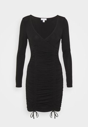 DOUBLE RUCHED FRONT SLINKY MINI - Shift dress - black