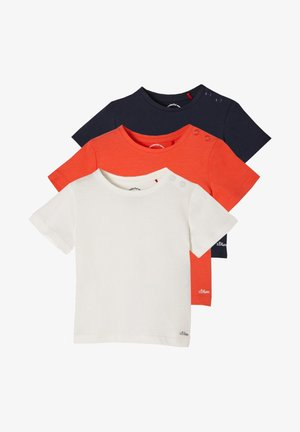 3 PACK - Print T-shirt - offwhite/red/navy