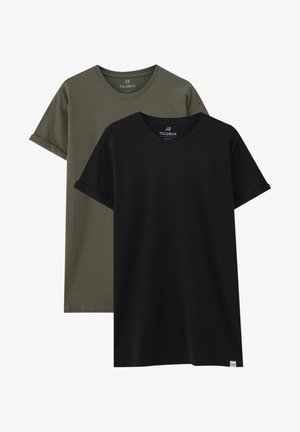 TWO PACK MUSCLE FIT - T-shirt basic - black/khaki