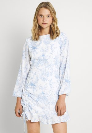 RUCHED SIDE TEA DRESS FLORA - Day dress - white