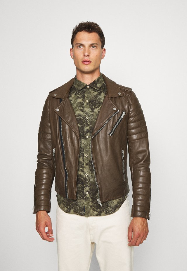 HIPSTER  - Leather jacket - khaki