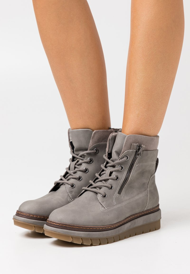 Tamaris - Platform ankle boots - grey matt