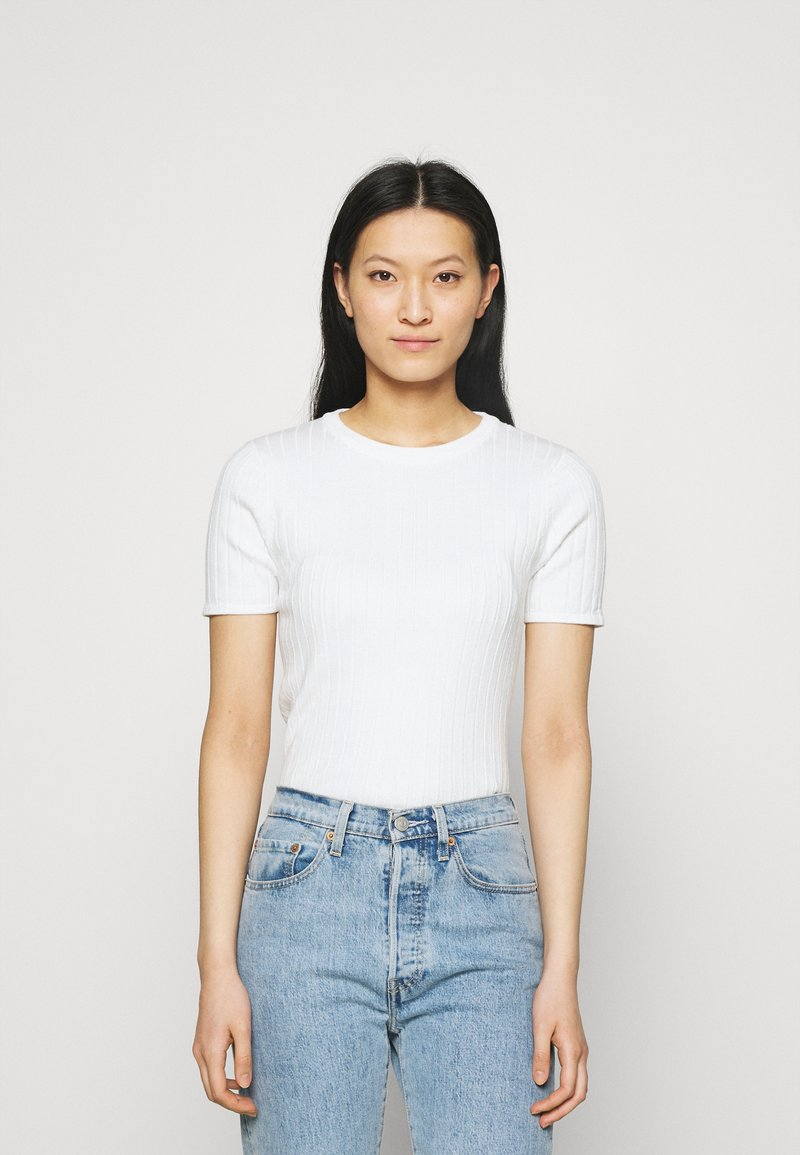 esmé studios - ESVINA O NECK - Jednoduché triko - white