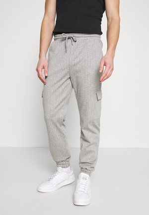 PINSTRIPE CARGO - Tracksuit bottoms - grey