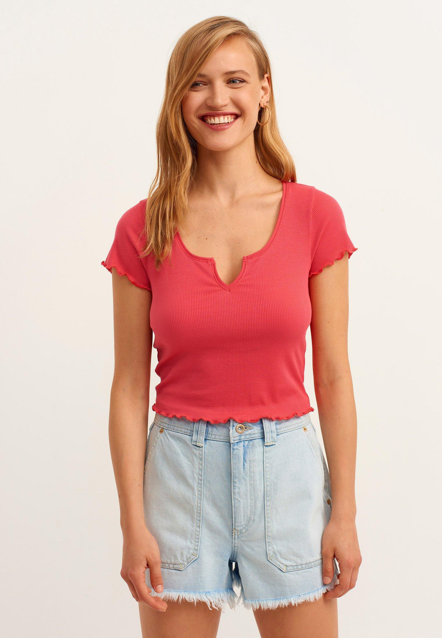 Damen MIT WELLIGEN SÄUMEN - T-Shirt basic