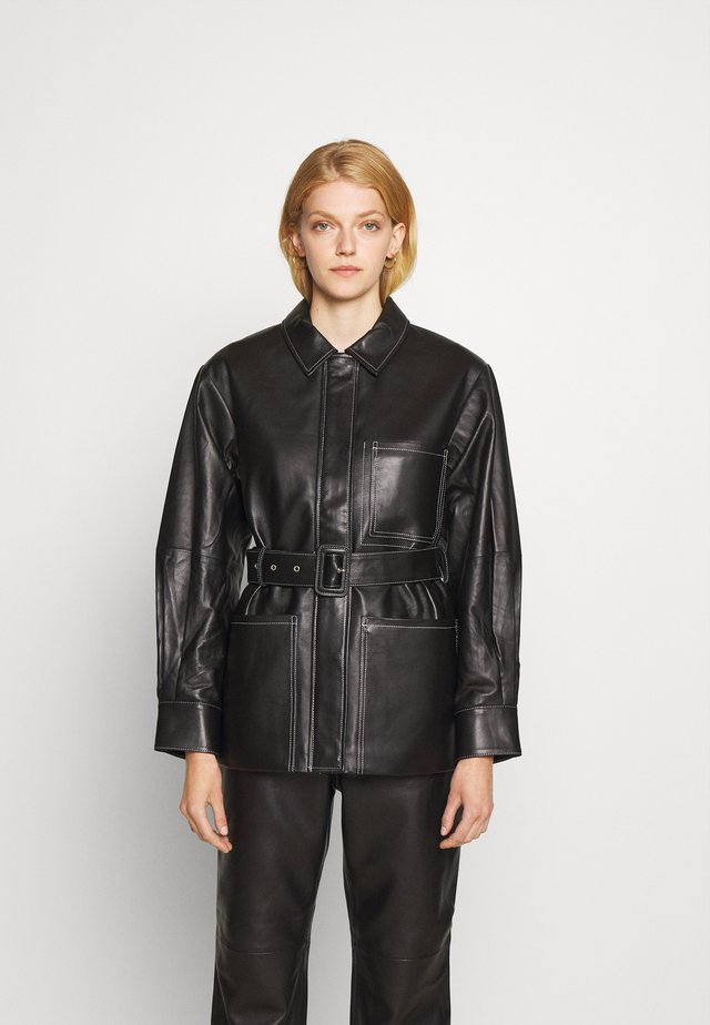 BELTED JACKET - Giacca di pelle - black
