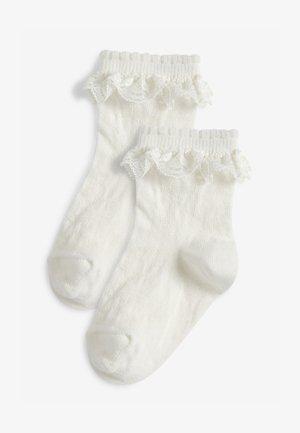 2 PACK LACE RUFFLE - Socks - white