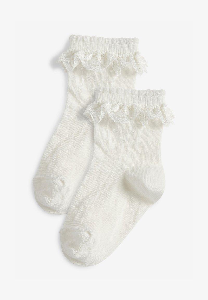 Next - 2 PACK LACE RUFFLE - Socks - white