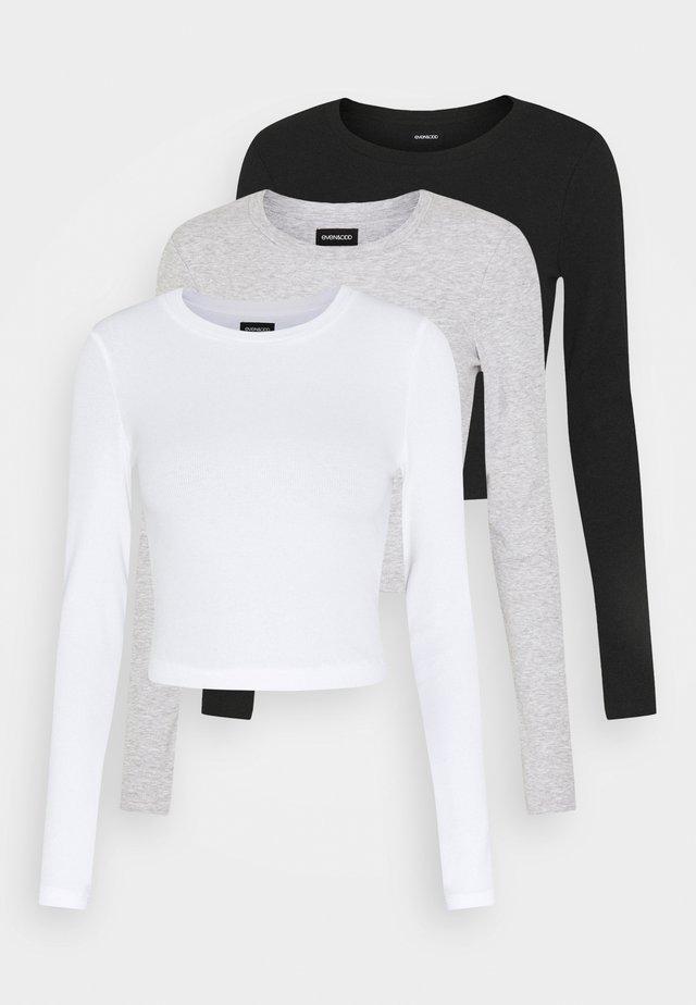 3 PACK - Langarmshirt - black/white/light grey
