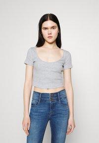 Even&Odd - 3 PACK - Camiseta estampada - black/white/mottled light grey - 1