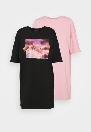 2 PACK - Vestido informal - black/pink