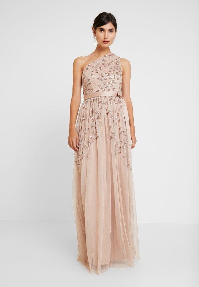ONE SHOULDER EMBELLISHED DRESS WITH SASH TIE BELT - Vestido de fiesta - taupe blush