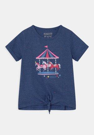 Print T-shirt - deep blue melange