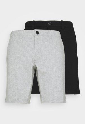 PONTE 2 PACK - Shorts - black /light grey melange