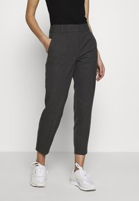 Selected Femme - SLFRIA CROPPED PANT - Trousers - dark grey melange - 0
