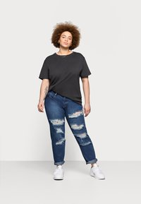 Glamorous Curve - RIPPED CECE - Relaxed fit jeans - dark blue wash - 1