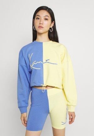 SIGNATURE CROP BLOCK CREW - Sweatshirt - blue