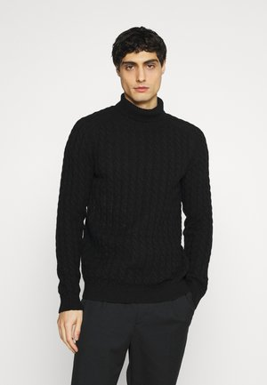 SLHJOE CABLE ROLL NECK - Trui - black