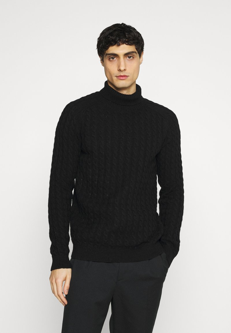 Selected Homme - SLHJOE CABLE ROLL NECK - Sweter - black