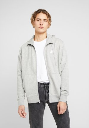 CLUB HOODIE - Huvtröja med dragkedja - grey heather/matte silver/white