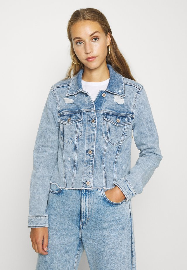 CROPPED JACKET - Chaqueta vaquera - blue denim