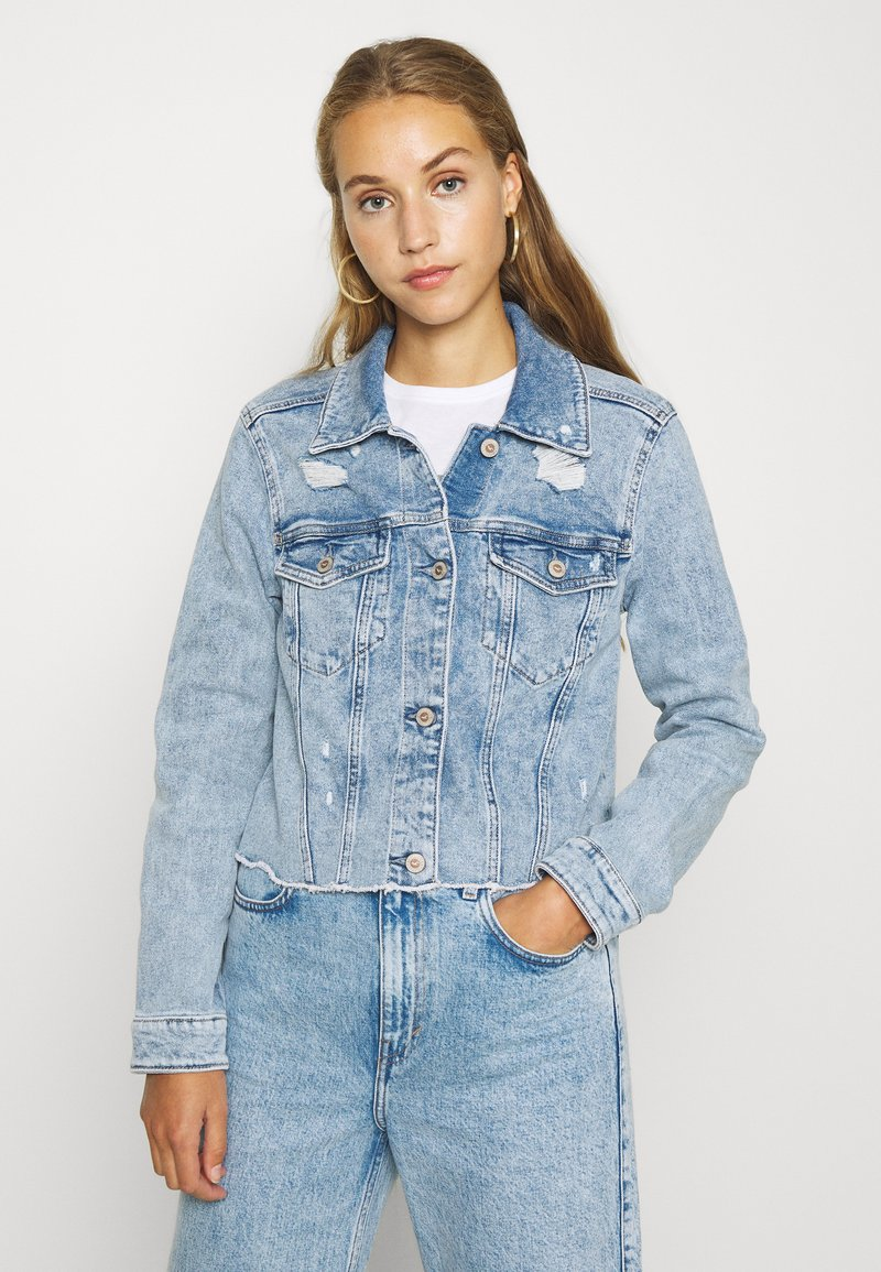 Hollister Co. - CROPPED JACKET - Denim jacket - blue denim