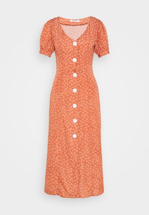 MIDI DRESS WITH PUFF SHORT SLEEVES - Day dress - terracotta ditsy