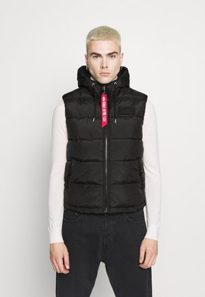 HOODED PUFFER VEST - Waistcoat - black