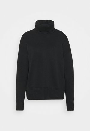 CROP OVERSIZED TNECK - Svetr - true black
