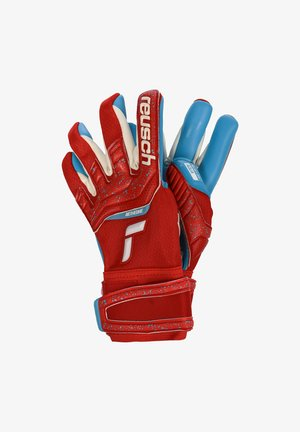 Gloves - red / aqua blue
