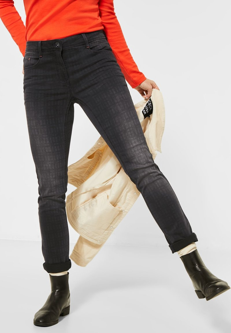 Cecil - MIT FADED KAROMUSTER - Slim fit jeans - grau