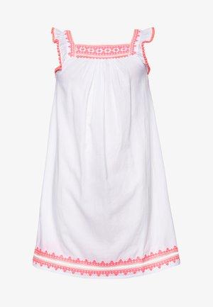 GIRLS EMBROIDERED FLUTTER SLEEVE DRESS - Day dress - white