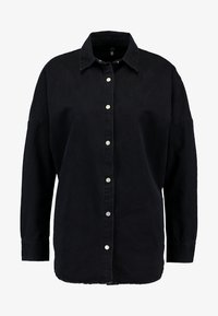 Missguided - OVERSIZED DENIM SHIRT - Overhemdblouse - black - 4