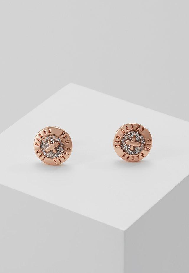 EISLEY ENAMEL MINI BUTTON EARRING - Pendientes - rosegold-coloured/silver glitter