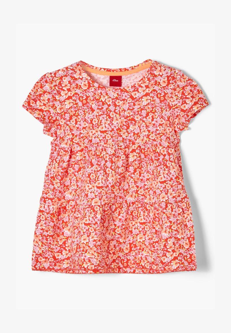 s.Oliver - MIT BLUMENMUSTER - Print T-shirt - orange floral print